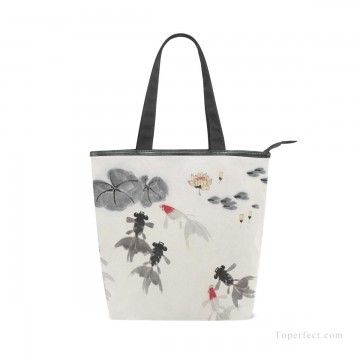 Bag Painting - Personalized Canvas Handbags Purse in Classic Artworks Traditional Chinese Ink Painting Goldfish And Lotus Flowers USD14 1
