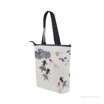 Bag Painting - Personalized Canvas Handbags Purse in Classic Artworks Traditional Chinese Ink Painting Goldfish And Lotus Flowers USD14 3