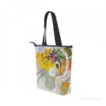 Bag Painting - Personalized Canvas Handbags Purse in Classic Artworks abstract painting Dominant Curve by Wassily Kandinsky USD14 3