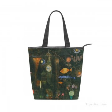 Bag Painting - Personalized Canvas Handbags Purse in Classic Artworks oil painting Fish Magic by Paul Klee USD14 1