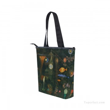 Frame Painting - Personalized Canvas Handbags Purse in Classic Artworks oil painting Fish Magic by Paul Klee USD14 3