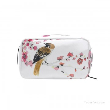 Bag Painting - Personalized Cosmetic Bag Storage Bag Square Packet Makeup Bag in Classic Artworks Bird and Flowers Watercolor USD8 1