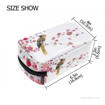 Bag Painting - Personalized Cosmetic Bag Storage Bag Square Packet Makeup Bag in Classic Artworks Bird and Flowers Watercolor USD8 2