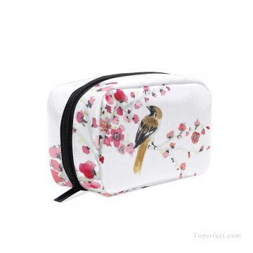 Bag Painting - Personalized Cosmetic Bag Storage Bag Square Packet Makeup Bag in Classic Artworks Bird and Flowers Watercolor USD8 5