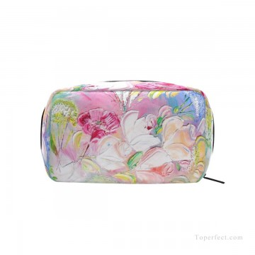 Bag Painting - Personalized Cosmetic Bag Storage Bag Square Packet Makeup Bag in Classic Artworks Spring Mood impasto flowers USD8 1