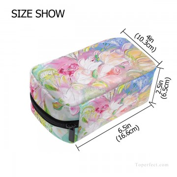 Make Art - Personalized Cosmetic Bag Storage Bag Square Packet Makeup Bag in Classic Artworks Spring Mood impasto flowers USD8 2