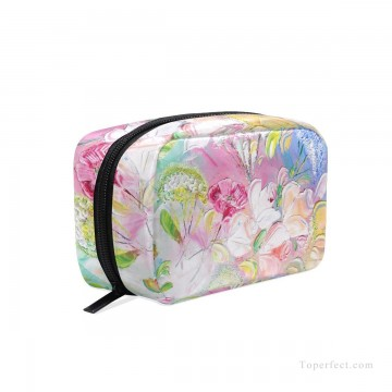 Bag Painting - Personalized Cosmetic Bag Storage Bag Square Packet Makeup Bag in Classic Artworks Spring Mood impasto flowers USD8 5