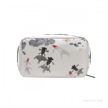 Bag Painting - Personalized Cosmetic Bag Storage Bag Square Packet Makeup Bag in Goldfish and Waterlily Chinese Flowers Ink Painting USD8 1