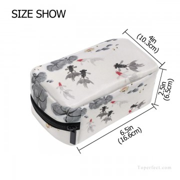 Bag Painting - Personalized Cosmetic Bag Storage Bag Square Packet Makeup Bag in Goldfish and Waterlily Chinese Flowers Ink Painting USD8 2