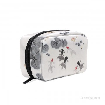 Bag Painting - Personalized Cosmetic Bag Storage Bag Square Packet Makeup Bag in Goldfish and Waterlily Chinese Flowers Ink Painting USD8 5