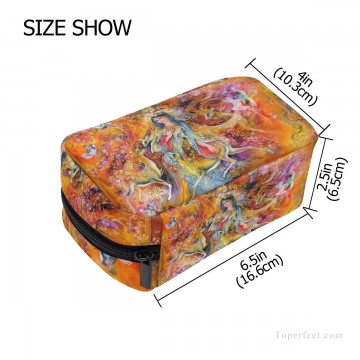 Make Art - Personalized Cosmetic Bag Storage Bag Square Packet Makeup Bag in Persian Miniatures painting Fairyland USD8 2