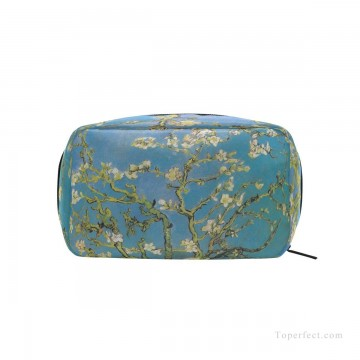 vincent van gogh Painting - Personalized Cosmetic Bag Storage Bag Square Packet Makeup Bag in oil painting Branches with Almond Blossom by Vincent van Gogh USD8 1