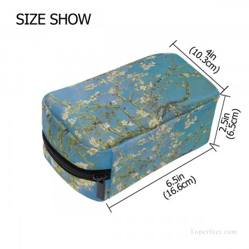 Make Art - Personalized Cosmetic Bag Storage Bag Square Packet Makeup Bag in oil painting Branches with Almond Blossom by Vincent van Gogh USD8 2
