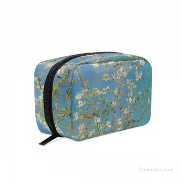 Frame Painting - Personalized Cosmetic Bag Storage Bag Square Packet Makeup Bag in oil painting Branches with Almond Blossom by Vincent van Gogh USD8 5