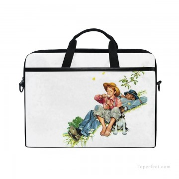 Bag Painting - Personalized Laptop Bag Briefcase in Classic Artworks illustrate Grandpa And Me Picking Daisies USD18 1