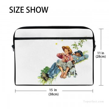 Frame Painting - Personalized Laptop Bag Briefcase in Classic Artworks illustrate Grandpa And Me Picking Daisies USD18 2