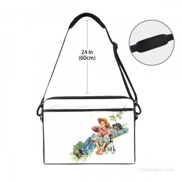 Bag Painting - Personalized Laptop Bag Briefcase in Classic Artworks illustrate Grandpa And Me Picking Daisies USD18 3