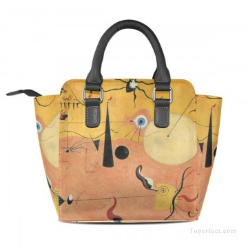 Handbag Art - Personalized Leather Handbag Purse with Removable Shoulder Strap Dadaism painting Catalan Landscape USD35 2
