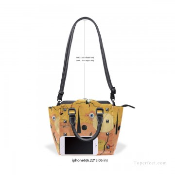 Handbag Art - Personalized Leather Handbag Purse with Removable Shoulder Strap Dadaism painting Catalan Landscape USD35 6