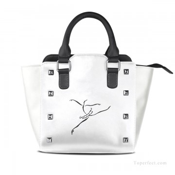 Handbag Art - Personalized Leather Handbag Purse with Removable Shoulder Strap contemporary Ballet Dancer painting USD35 1