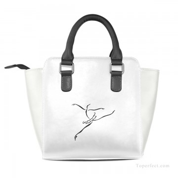 Handbag Art - Personalized Leather Handbag Purse with Removable Shoulder Strap contemporary Ballet Dancer painting USD35 2