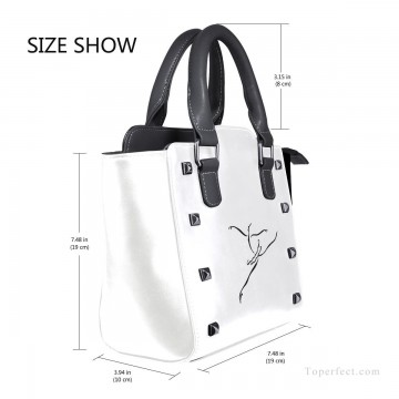 ballet Painting - Personalized Leather Handbag Purse with Removable Shoulder Strap contemporary Ballet Dancer painting USD35 3