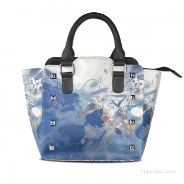 Personalized Bags in Art Painting - Personalized Leather Handbag Purse with Removable Shoulder Strap modern oil painting Blue fluctuations USD35 1