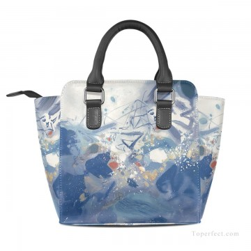 Handbag Art - Personalized Leather Handbag Purse with Removable Shoulder Strap modern oil painting Blue fluctuations USD35 2