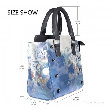 Personalized Bags in Art Painting - Personalized Leather Handbag Purse with Removable Shoulder Strap modern oil painting Blue fluctuations USD35 3