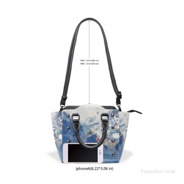 Personalized Bags in Art Painting - Personalized Leather Handbag Purse with Removable Shoulder Strap modern oil painting Blue fluctuations USD35 6
