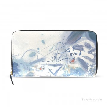 Frame Painting - Personalized Wallet Zipper Bag Leather Wallets in Classic Artworks PU Leather modern oil painting Blue Fluctuations USD17 2