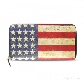 Personalized Bags in Art Painting - Personalized Split Leather Wallet Zipper Bag in Classic Artworks contemporary oil painting American Flag USD25 2