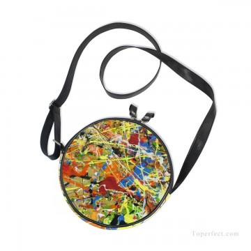 Customized Sling Bag in Art Painting - Personalized Round Sling Bag Mini Canvas Small Shoulder Bag American Abstract Expressionism Painting USD12 2