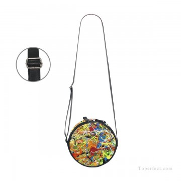 Customized Sling Bag in Art Painting - Personalized Round Sling Bag Mini Canvas Small Shoulder Bag American Abstract Expressionism Painting USD12 3