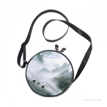 Sling Art - Personalized Round Sling Bag Mini Canvas Small Shoulder Bag Chinese landscape photograph in shanshui Ink painting USD12 2