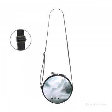 Customized Sling Bag in Art Painting - Personalized Round Sling Bag Mini Canvas Small Shoulder Bag Chinese landscape photograph in shanshui Ink painting USD12 3
