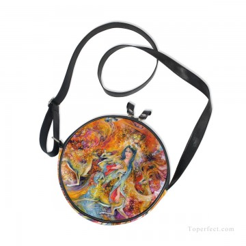 Personalized Bags in Art Painting - Personalized Round Sling Bag Mini Canvas Small Shoulder Bag Persian Miniatures painting Fairyland USD12 2