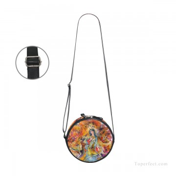 Customized Sling Bag in Art Painting - Personalized Round Sling Bag Mini Canvas Small Shoulder Bag Persian Miniatures painting Fairyland USD12 3