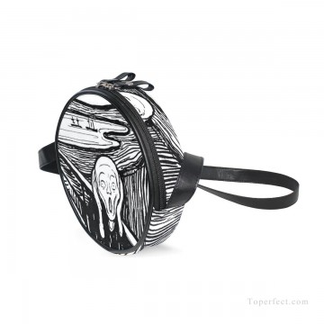 Sling Art - Personalized Round Sling Bag Mini Canvas Small Shoulder Bag black and white painting The Scream By Edvard Munch USD12 1