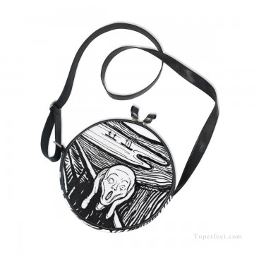 Personalized Round Sling Bag Mini Canvas Small Shoulder Bag black and white painting The Scream By Edvard Munch USD12 2 Oil Paintings