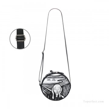 Personalized Bags in Art Painting - Personalized Round Sling Bag Mini Canvas Small Shoulder Bag black and white painting The Scream By Edvard Munch USD12 3