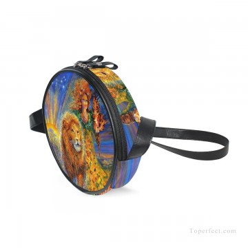 Customized Sling Bag in Art Painting - Personalized Round Sling Bag Mini Canvas Small Shoulder Bag fantastic oil painting Girl and Lion USD12 1