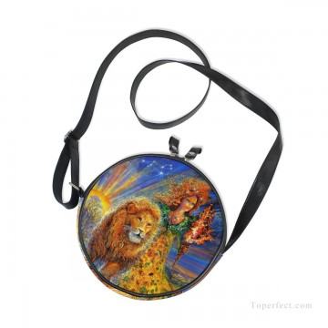 Customized Sling Bag in Art Painting - Personalized Round Sling Bag Mini Canvas Small Shoulder Bag fantastic oil painting Girl and Lion USD12 2