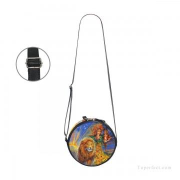 Customized Sling Bag in Art Painting - Personalized Round Sling Bag Mini Canvas Small Shoulder Bag fantastic oil painting Girl and Lion USD12 3