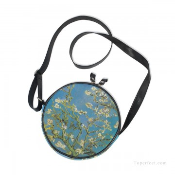 Customized Sling Bag in Art Painting - Personalized Round Sling Bag Mini Canvas Small Shoulder Bag oil painting Branches With Almond Blossom by van Gogh USD12 2