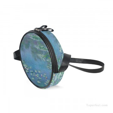 Customized Sling Bag in Art Painting - Personalized Round Sling Bag Mini Canvas Small Shoulder Bag oil painting Water Lilies Pond by Monet USD12 1