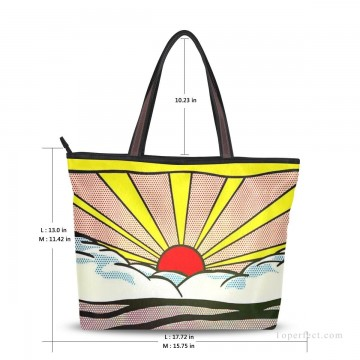 Customized Tote Bag in Art Painting - Personalized Canvas Tote Bag Purse POP art painting Sunrise by American artist USD19 1