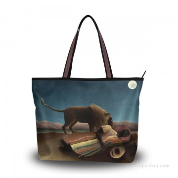 Personalized Bags in Art Painting - Personalized Canvas Tote Bag Purse oil painting The Sleeping Gypsy by Henri Rousseau USD19 1