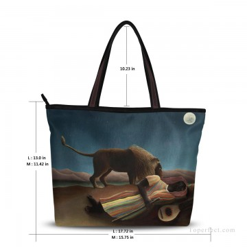 Personalized Bags in Art Painting - Personalized Canvas Tote Bag Purse oil painting The Sleeping Gypsy by Henri Rousseau USD19 2
