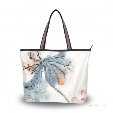 chang dai chien Painting - Personalized Canvas Tote Bag Purse traditional Chinese ink painting Lotus by Chang dai chien USD19 1